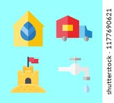 building icons set. blue ... | Shutterstock .eps vector #1177690621