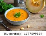 pumpkin soup and organic... | Shutterstock . vector #1177699834