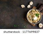 mushroom spaghetti pasta and... | Shutterstock . vector #1177699837