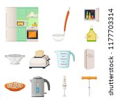 kitchen equipment cartoon icons ... | Shutterstock .eps vector #1177703314