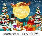 merry christmas poster with... | Shutterstock .eps vector #1177713094