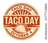 taco day  october 4  rubber... | Shutterstock .eps vector #1177713844