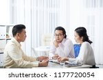 young asian men and woman... | Shutterstock . vector #1177720054