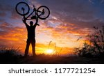 silhouette the man stand in... | Shutterstock . vector #1177721254