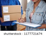 close up of young woman signing ... | Shutterstock . vector #1177721674