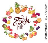 collection of fruits and... | Shutterstock .eps vector #1177723024