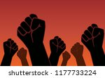 Raised Fist Hand Of Protesters...