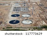 Large construction project at a waste water treatment plant - stock photo