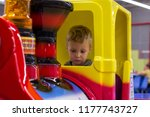 little child enthusiastically... | Shutterstock . vector #1177743727