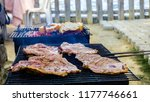 beefs and steaks on barbecue... | Shutterstock . vector #1177746661
