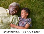 boy and his granddad lying on... | Shutterstock . vector #1177751284