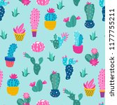 print colorful cactus pattern | Shutterstock .eps vector #1177755211