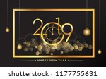 happy new year 2019   new year... | Shutterstock .eps vector #1177755631