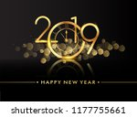 happy new year 2019 with... | Shutterstock .eps vector #1177755661