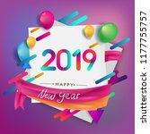 happy new year 2019 typography... | Shutterstock .eps vector #1177755757