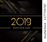 happy new year 2019 text design ... | Shutterstock .eps vector #1177755787