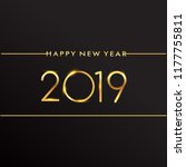 new year 2019 golden colored... | Shutterstock .eps vector #1177755811