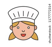 cute chef head filled outline... | Shutterstock .eps vector #1177772314