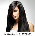beautiful woman with long... | Shutterstock . vector #117777379