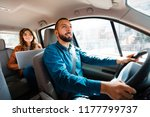 smiling driver talking with... | Shutterstock . vector #1177799737