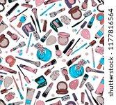 cosmetics stuff seamless pattern | Shutterstock .eps vector #1177816564