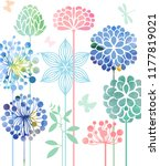 decorative flowers in...   Shutterstock .eps vector #1177819021