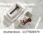 shaving accesoriess on a clean  ...   Shutterstock . vector #1177828474