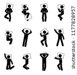 stick figure man sleeping icon... | Shutterstock .eps vector #1177828957