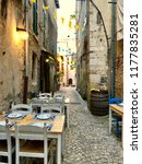 cosy restaurant at the old town ... | Shutterstock . vector #1177835281