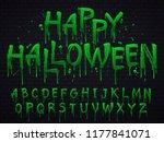 green slime font. halloween... | Shutterstock .eps vector #1177841071