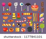 halloween candy. sweet candies  ... | Shutterstock .eps vector #1177841101