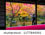 tourists enjoy autumn colorful...   Shutterstock . vector #1177844341
