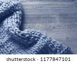 merino wool blanket on a grey... | Shutterstock . vector #1177847101