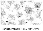 spider web set on white... | Shutterstock .eps vector #1177848991