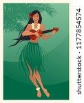 beautiful and smiling hawaiian... | Shutterstock .eps vector #1177854574
