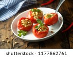 stuffed tomatoes with quinoa... | Shutterstock . vector #1177862761