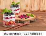 trifle close up photography... | Shutterstock . vector #1177885864