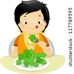 illustration of a boy eating... | Shutterstock .eps vector #117789595
