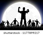 halloween background. tombstone ... | Shutterstock .eps vector #1177899217
