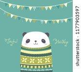 panda. christmas vector card... | Shutterstock .eps vector #1177903597