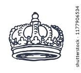 hand drawn crown on white... | Shutterstock .eps vector #1177906534