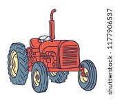 hand drawn vintage red tractor... | Shutterstock .eps vector #1177906537