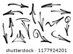 set of graffiti arrows drawn by ... | Shutterstock .eps vector #1177924201