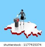 swiss citizen voting for... | Shutterstock .eps vector #1177925374