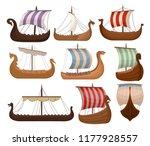 viking scandinavian draccars... | Shutterstock .eps vector #1177928557