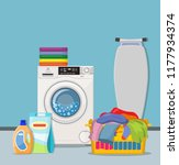laundry room service concept.... | Shutterstock .eps vector #1177934374