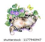 Playful Kitten With Flowers An...