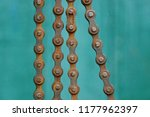 Old Brown Rusty Bicycle Chain...