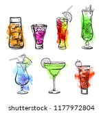 set of glasses with different... | Shutterstock . vector #1177972804