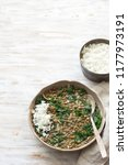 stewed kale lentils with onions ...